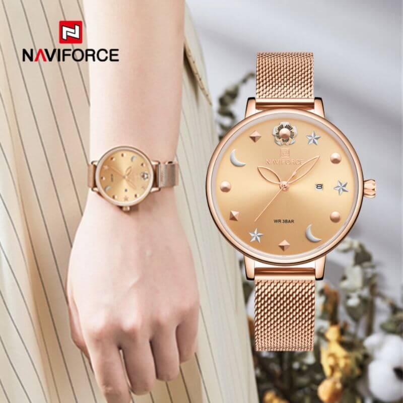 NAVIFORCE NF5009 Mesh Stainless Steel Analog Watch For Women 5