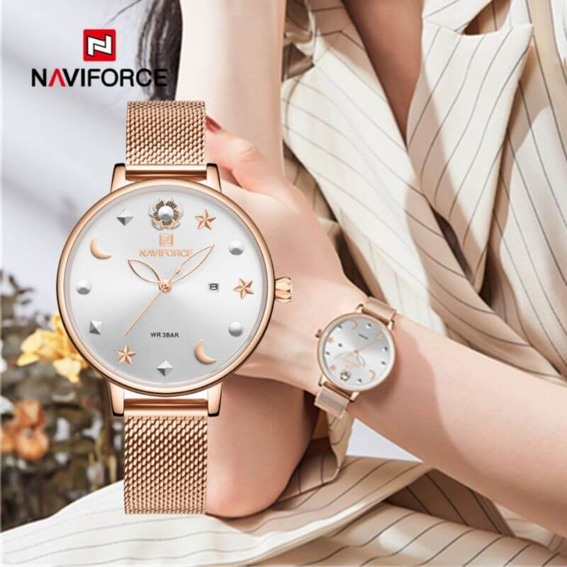 NAVIFORCE NF5009 Mesh Stainless Steel Analog Watch For Women 4